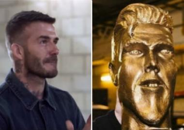 David Beckham, estatua, broma, futbolista, inglés, james Corden, Los Angeles Galaxy,
