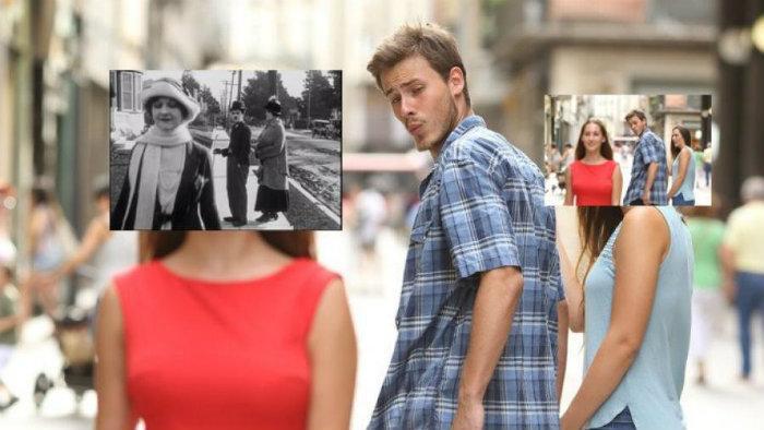 meme, novio distraído meme, distracted boyfriend meme, charlie chaplin meme, pat day, de donde viene el meme, origen del meme, viral, redes