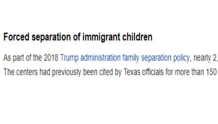 wikipedia, campos de concentración, migrantes, niños, Donald Trump, Estados Unidos