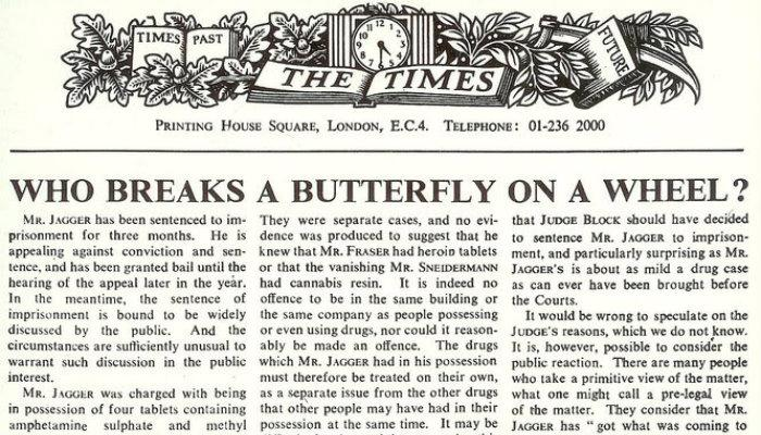 keith richards, mick jagger, rolling stones, aresto rolling stones, keith richards y mick jagger en prisión, editorial, who breaks a butterfly ion a wheel