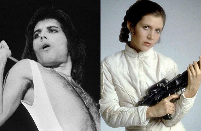 Carrie Fisher, Freddie Mercury, Queen, romance, secreto, relación amorosa,